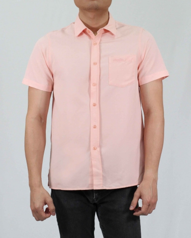 SCOTT COLLARED SHORT SLEEVE SHIRT IN PEACH