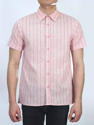OWEN COLLARED SHORT SLEEVE SHIRT IN RED