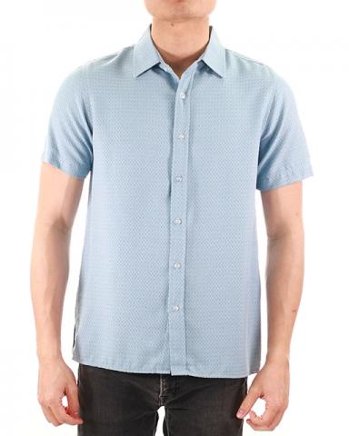 WESLEY COLLARED SHORT SLEEVE SHIRT IN LIGHT BLUE