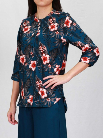 POLLY PRINTED 3/4 SLEEVE BLOUSE IN PETROL