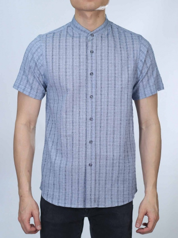 OWEN MANDARIN COLLARED SHIRT IN DARK NAVY