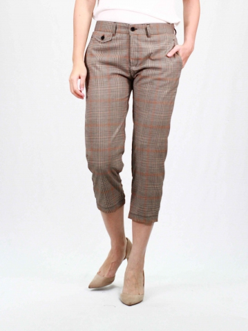 RAINE CHECKED CROP PANTS IN DARK BROWN