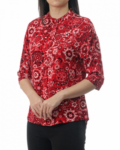 TINA STAND COLLARED 3/4 SLEEVE BLOUSE IN RED