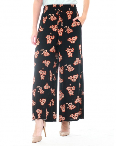 WALLIS PRINTED FLARED LONG PANTS IN MID ORANGE