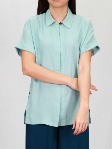 PAISLEY COLLARED SHORT SLEEVE BLOUSE IN LIGHT TEAL