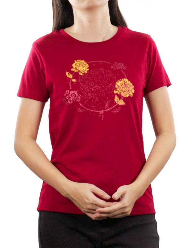 833de2cec219 WOMEN PEONY FLOWER GRAPHIC TEE IN MAROON - T-SHIRTS - WOMEN