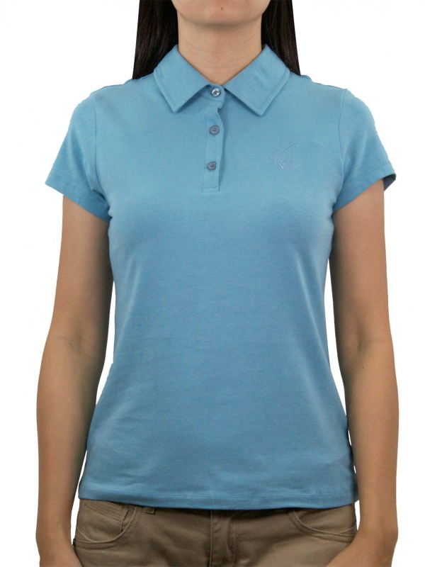 a5b813a65 WOMEN SHORT SLEEVE POLO WITH EMBROIDERY IN LIGHT BLUE - TOPS - WOMEN