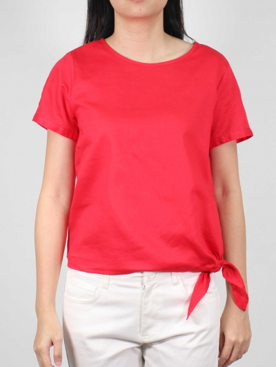 MOLLY ROUND NECK SHORT SLEEVE BLOUSE IN RED