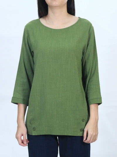OLLIE ROUND NECK 3/4 SLEEVE BLOUSE IN MID GREEN