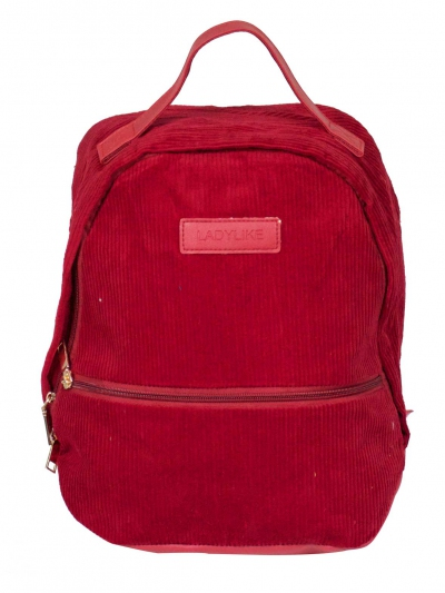 FIONA CORDUROY BACK PACK IN DARK RED