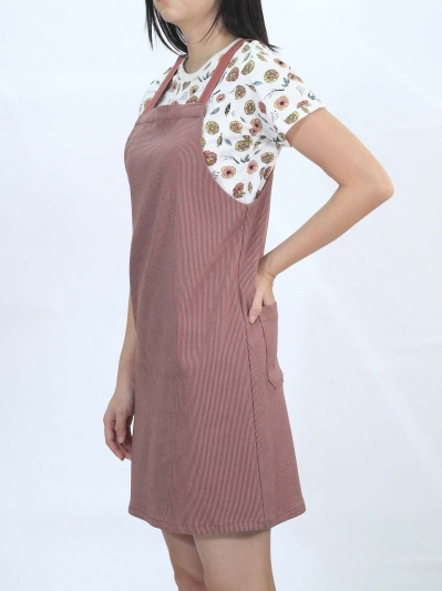 OLIVIA PINAFORE DRESS IN ROSE