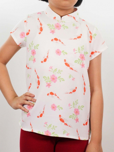 MELODI PRINTED SHORT SLEEVE BLOUSE IN OFF WHITE