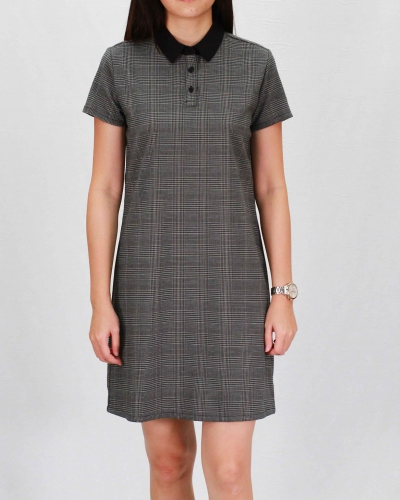RAINE COLLARED SHORT SLEEVE DRESS IN DARK GREY