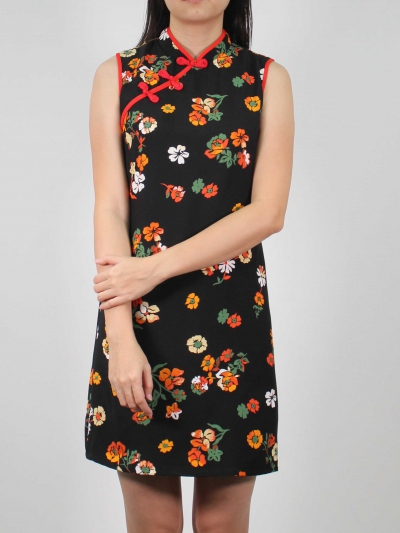 MOLLY PRINTED SLEEVELESS CHEONGSAM IN BLACK