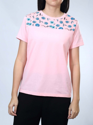 NEOL FLOWER PRINT PANEL SHORT SLEEVE TOP IN PINK