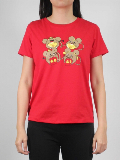 WOMEN FUNNY MOUSE GRAPHIC TEE IN RED