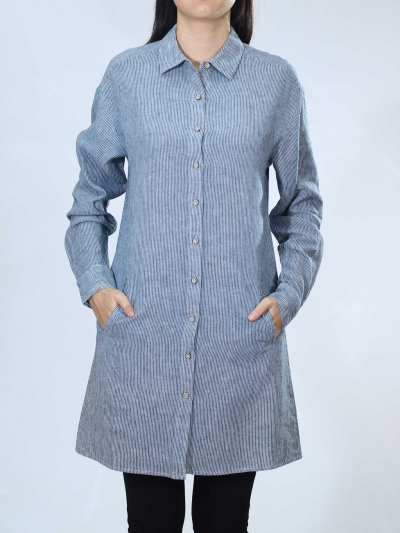 NEOL COLLARED LONG SLEEVE LONG SHIRT IN MID BLUE
