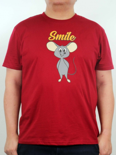 MEN PLUS SIZE SMILE MOUSE GRAPHIC TEE IN MAROON