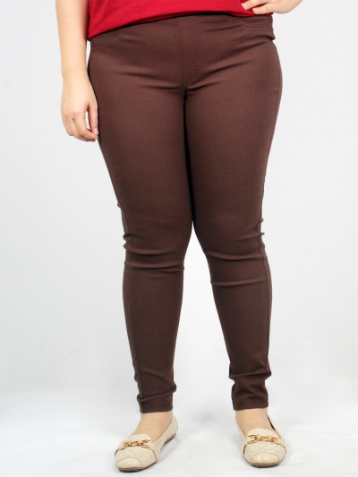 LISA SOLID LONG JEGGING IN DARK BROWN