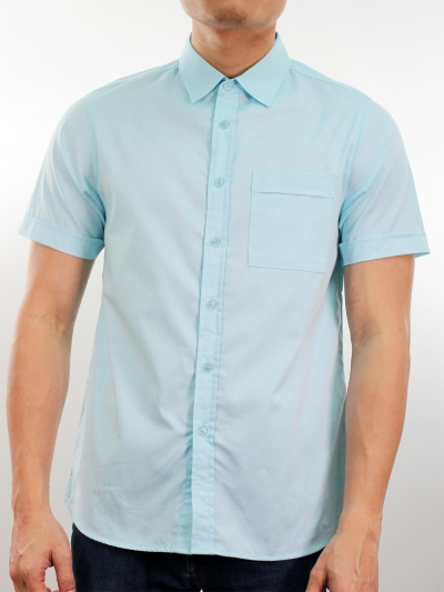 MARTIN COLLARED SHORT SLEEVE SHIRT IN SKY BLUE