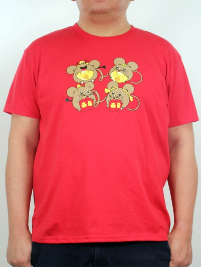 MEN PLUS SIZE FUNNY MOUSE GRAPHIC TEE IN RED