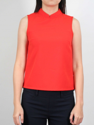 MOLLY MANDARIN COLLAR SLEEVELESS BLOUSE IN DARK ORANGE