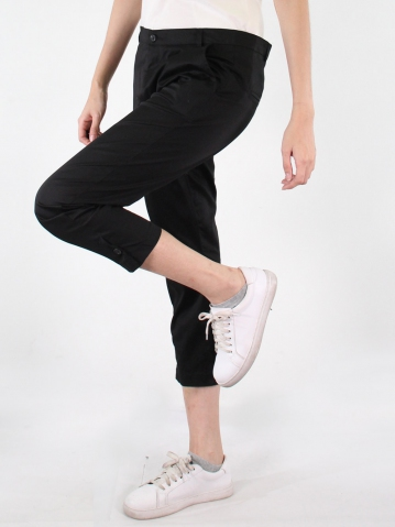 JANE COTTON CROP PANTS IN BLACK