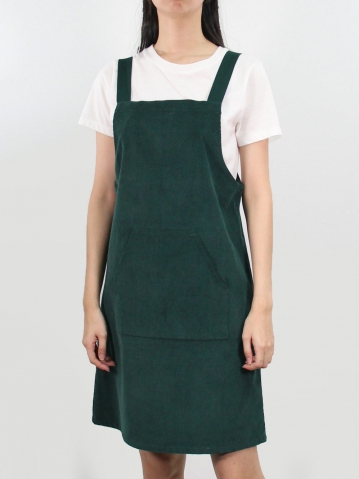 JANE CORDUROY PINAFORE DRESS IN DARK OLIVE