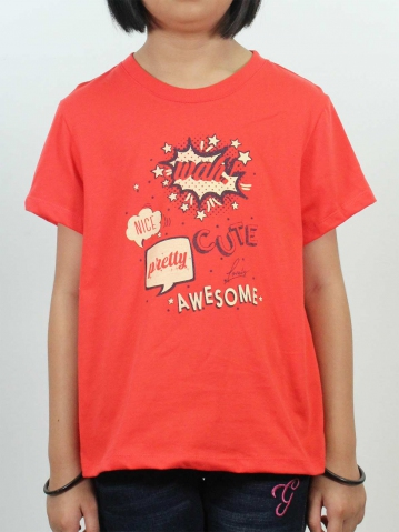 GIRLS AWESOME GRAPHIC TEE IN DARK ORANGE