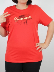 WOMEN PLUS SIZE SUMMER GRAPHIC TEE IN DARK ORANGE