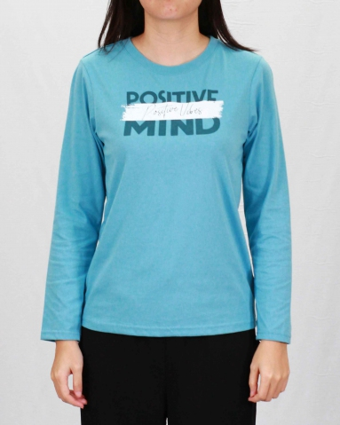 WOMEN POSITIVE MIND GRAPHIC TEE IN LIGHT BLUE