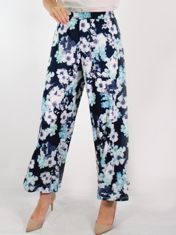 JANE PRINTED FLARED LONG PANTS IN DARK NAVY