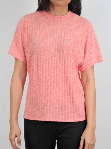 MOLLY CREW NECK SHORT SLEEVE TOP IN SALMON