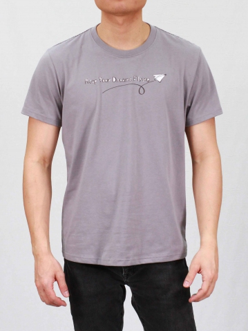 MEN KEEP YOUR DREAMS FLYING GRAPHIC TEE IN MID GREY