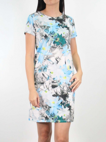 JANE PRINTED SHORT SLEEVE DRESS IN LIGHT BLUE