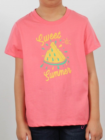 GIRLS SWEET SUMMER GRAPHIC TEE IN CORAL