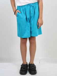 HANNA SOLID KNIT BERMUDA SHORTS IN TURQUOISE