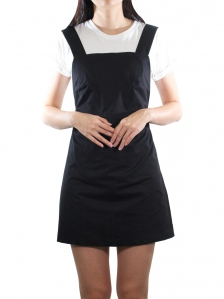 ELLA CASUAL PINAFORE DRESS IN BLACK