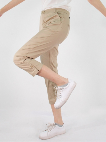 JANE COTTON CROP PANTS IN DARK KHAKI