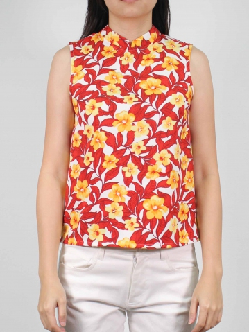 MOLLY PRINTED SLEEVELESS BLOUSE IN RED