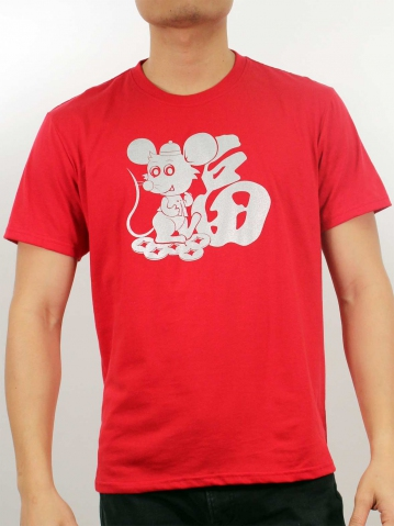 MEN BLESSING MOUSE GRAPHIC TEE IN RED