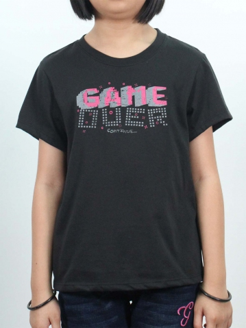 GIRLS GAME CONTINUE GRAPHIC TEE IN BLACK