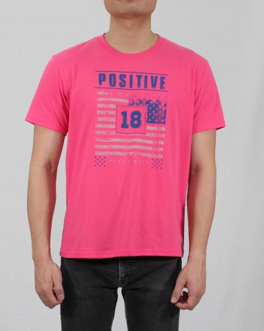MEN POSITIVE VIBES ONLY GRAPHIC TEE IN MID PINK