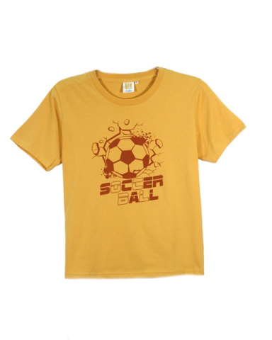 BOYS SOCCER BALL GRAPHIC TEE IN MUSTARD