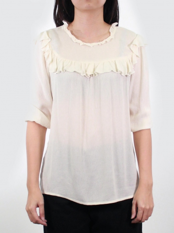 KATE RUFFLES NECK 3/4 SLEEVE BLOUSE IN OFF WHITE