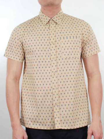 KENNY PRINTED SHORT SLEEVE SHIRT IN LIGHT YELLOW