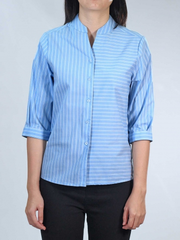 NEOL MANDARIN COLLAR 3/4 SLEEVE BLOUSE IN MID BLUE