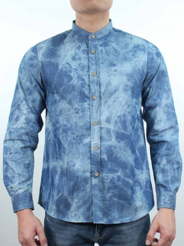 KENT COLLARED LONG SLEEVE SHIRT IN MID BLUE