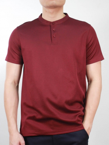 KENT SHORT SLEEVE POLO IN BURGUNDY