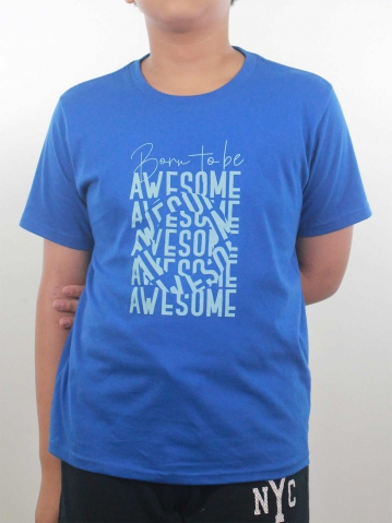 BOYS BORN TO BE AWESOME GRAPHIC TEE IN ROYAL